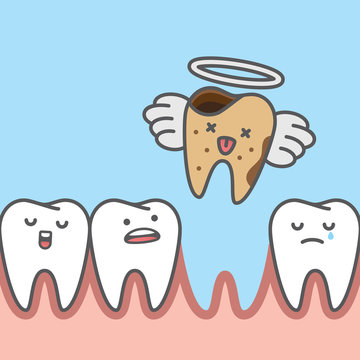 Dead decay tooth missing go to heaven illustration cartoon character vector design on blue background.  Dental care concept.