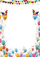 Karneval Cover mit Luftballons, Narrenkappen und Konfetti im Hochformat