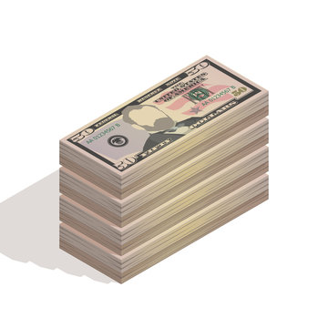 Big stack of fifty dollar bills. Paper money, pile of 50 US dollar banknotes, isometric view. Vector illustration isolated on white background
