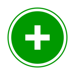 Round green plus sign icon, button. Flat add, positive symbol isolated on a white background. EPS10 vector file