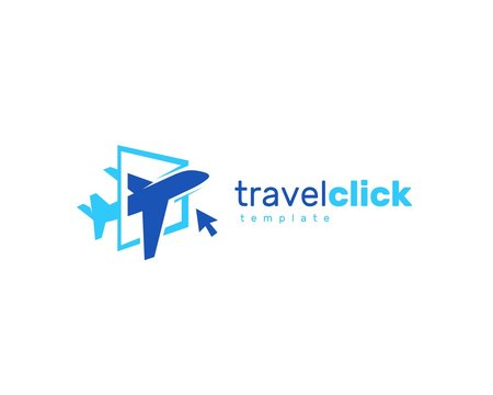 Airplane travel click logo
