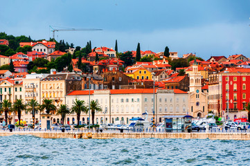Wall Mural - View of Split, Croatia during the cloudy day. Shore of the Adriatic Sea