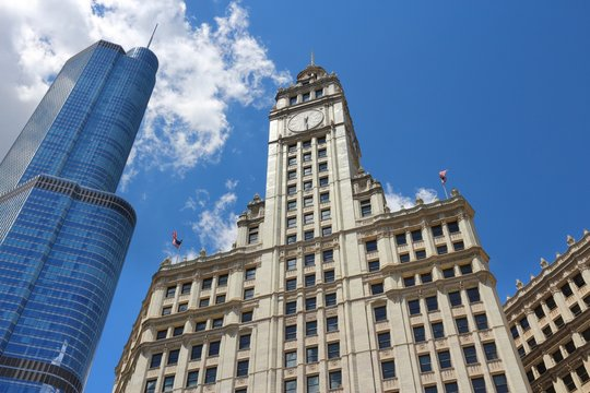 CHICAGO, USA - JUNE 28, 2013: Wrigley Building in Chicago. The building was completed in 1924 and is 130m tall. It is clad in glazed terra-cotta.