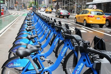 NEW YORK, USA - JUNE 10, 2013: Citibike bicycle sharing station in New York. With 330 stations and 6,000 bicycles it is one of top 10 bike sharing systems in the world.