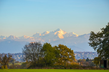 Mont Blanc sunset view from a field near Geneva