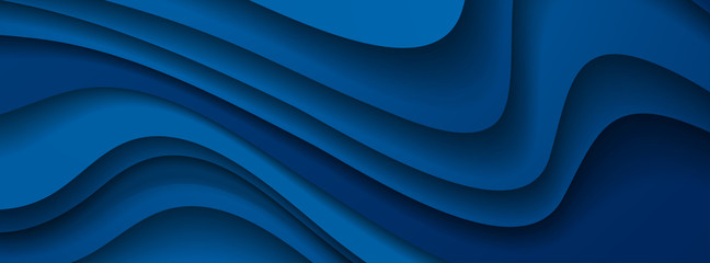 Dark blue paper waves abstract banner design. Elegant wavy vector background Fotomurales