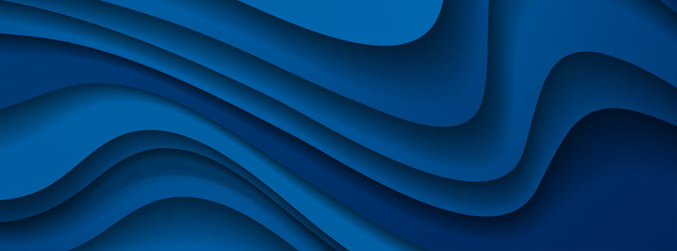 Dark blue paper waves abstract banner design. Elegant wavy vector background