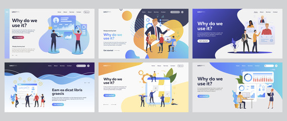 Team working together set. Managers analyzing charts, consulting expert online, planning tasks. Flat vector illustrations. Business, teamwork concept for banner, website design or landing web page