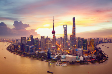 Wall Mural - Sunset and  Cityscape of Shanghai,