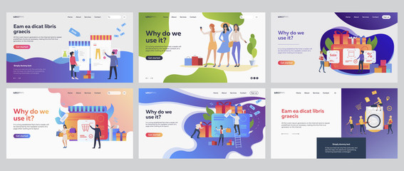 Sale season set. Customers using gift cards, vouchers, discount. Flat vector illustrations. Business, marketing, loyalty concept for banner, website design or landing web page