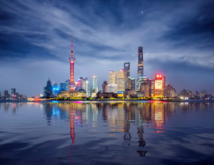 Wall Mural - Night Cityscape of Shanghai