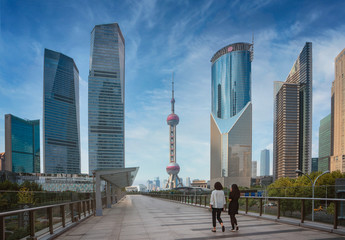Wall Mural - Cityscape of Shanghai city in day time with road and tower