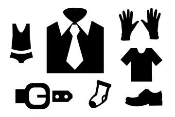 Men's clothing icon set on white background