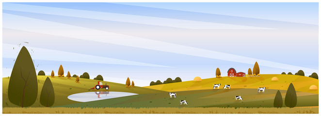 Panorama Vector illustration of Countryside landscape in autumn, banner of farm house or countryside.The yellow foliage mountains or hill with falling leaves.The scene of barn,cattle,pond and tractor