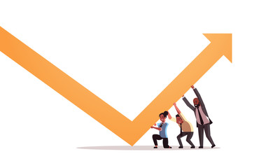 businesspeople pushing growing arrow teamwork financial growth concept business people correcting direction of arrow horizontal full length vector illustration