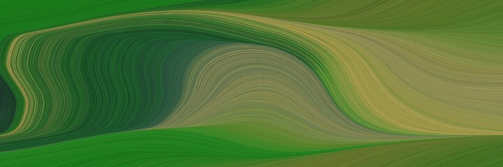 Foto auf AluDibond Grun decorative header with dark olive green, olive drab and forest green colors. dynamic curved lines with fluid flowing waves and curves