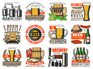 Beer brewery, craft pub and bar vector icons. Alcohol drink barrel, mugs, bottles and glasses of ale and lager, tap, can and brewing tanks, barley, wheat and hops retro badges and emblems design