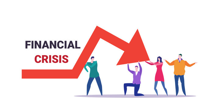 businesspeople team frustrated about economic arrow falling down financial crisis bankrupt investment risk concept business people holding red chart moving downward full length horizontal vector