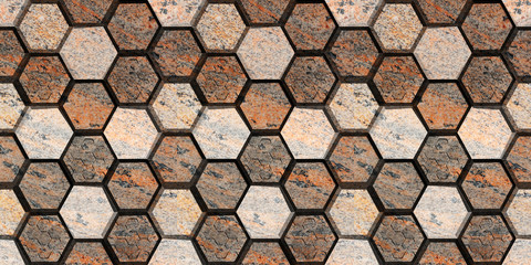 abstract hexagon marble elevation wall and floor decorative tiles design background,