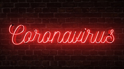 Bright red neon sign that says the word Coronavirus on a brick wall.