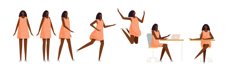 Set of a black woman in different poses. Female character for your design project, animation. Vector trendy illustration, flat style. White background, isolated. Girl walk, stand, run, jump, sit
