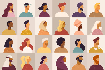 Set of profile portraits or heads of male and female cartoon characters. Various nationality. Blond, brunet, redhead, african american, asian, muslim, european. Set of avatars. Vector, flat design Fototapete