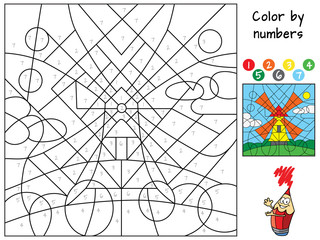 Windmill. Color by numbers. Coloring book. Educational puzzle game for children. Cartoon vector illustration
