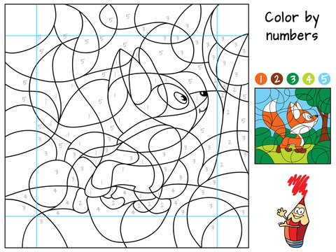 Funny little fox in the forest. Color by numbers. Coloring book. Educational puzzle game for children. Cartoon vector illustration