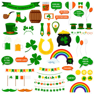 St. Patrick's day vector icons set isolated on white background. Flat cartoon style design element for party, sales, photo booth props: pot, coins, rainbow, horseshoe, beer, clover, pipe, tie, hat.