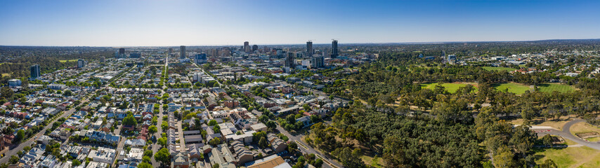 Aerial panoramic view of the city of Adelaide, South Australia