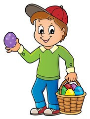 Türaufkleber Für Kinder Boy with Easter eggs theme image 1