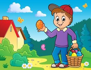 Türaufkleber Für Kinder Boy with Easter eggs theme image 4
