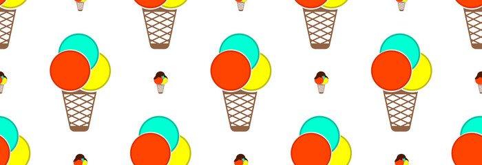 Ice cream cold with colorful balls and dark sweet chocolate on top. Seamless pattern.
