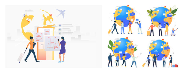 Tourists and passengers set. Travelers holding luggage, taking pictures at globe with pointers. Flat vector illustrations. Travel, vacation concept for banner, website design or landing web page
