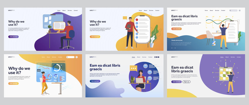 Business task planning set. Office employee analyzing report, chart, note board. Flat vector illustrations. Workplace, strategy concept for banner, website design or landing web page