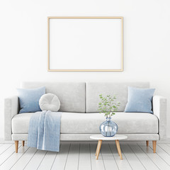 Poster mockup with horizontal frame hanging on the wall in living room interior with sofa, blue plaid and green branches in vase on empty white background. 3D rendering, illustration.
