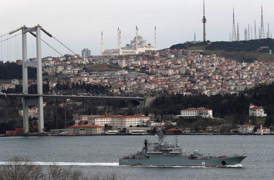 The Russian Navy's large landing ship Caesar Kunikov sails in the Bosphorus in Istanbul