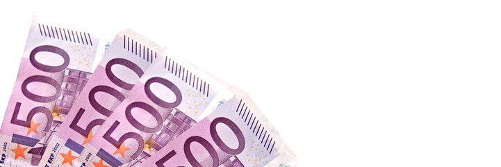 500 euros pink banknotes isolated on white panoramic background, cash money concept web banner