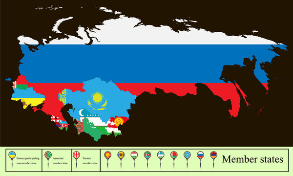 map of the Commonwealth of Independent State (CIS) with the Russian Crimea. Set creative markers with flags of states members of the CIS.