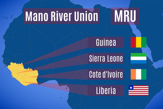 Map and flags of the Mano River Union (MRU).