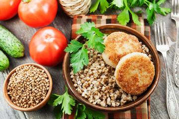 Buckwheat with burgers