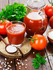 Tomato juice in a glass jug