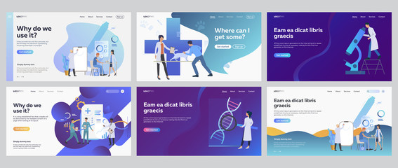 Medical research set. Doctors working in lab with microscope, charts, graphs. Flat vector illustrations. Medicine, test, science concept for banner, website design or landing web page