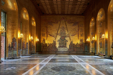 Stockholm Sweden: 08-08-2019 the gold hall of the town hall