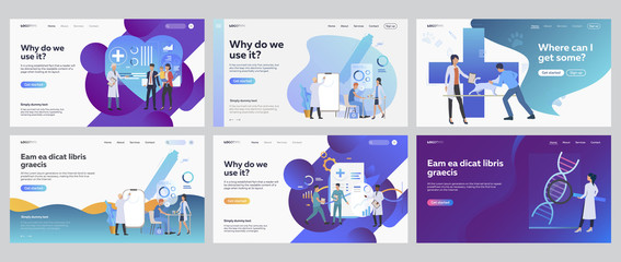 Medical office set. People visiting doctor, veterinary, lab research. Flat vector illustrations. Medicine, examination, healthcare concept for banner, website design or landing web page Wall mural