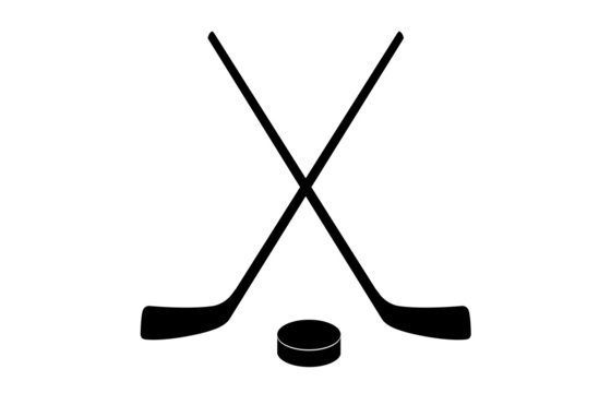 A vector illustration of two crossed hockey sticks and a puck