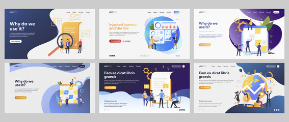 Work on business project set. Businesspeople meeting, planning, getting profit. Flat vector illustrations. Business, investment concept for banner, website design or landing web page Wall mural