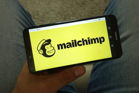 KONSKIE, POLAND - June 29, 2019: Mailchimp logo on mobile phone