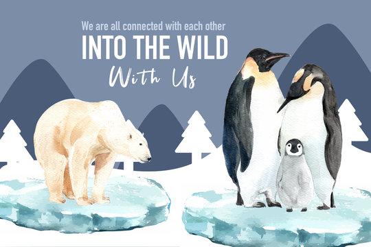 Winter animal frame design with polar bear, penguin watercolor illustration.