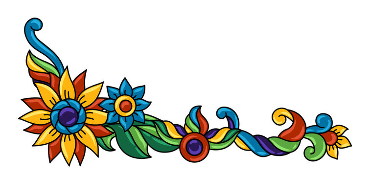 Background with mexican talavera pattern. Decoration with ornamental flowers.